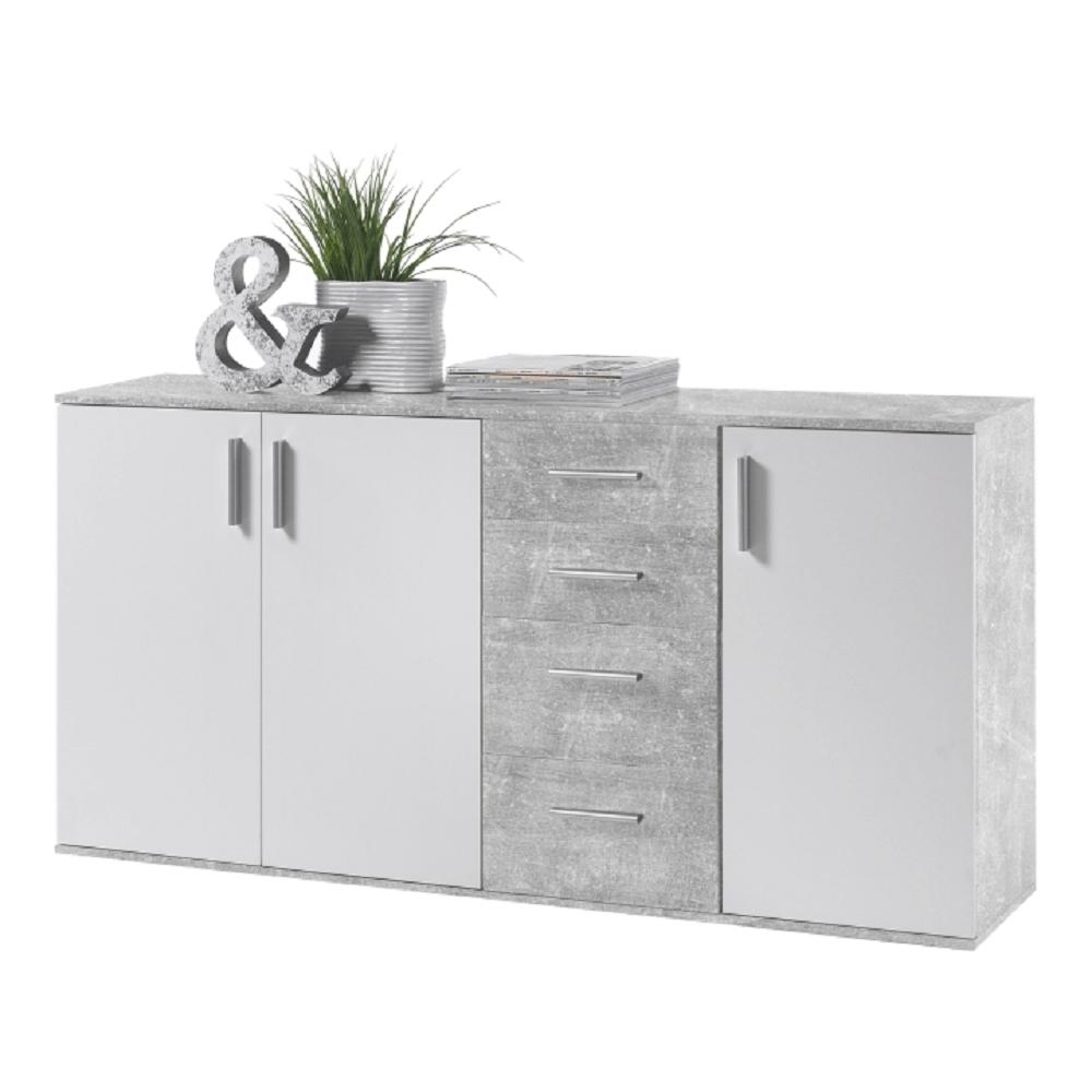 Komód, fehér/beton, POPPY 3
