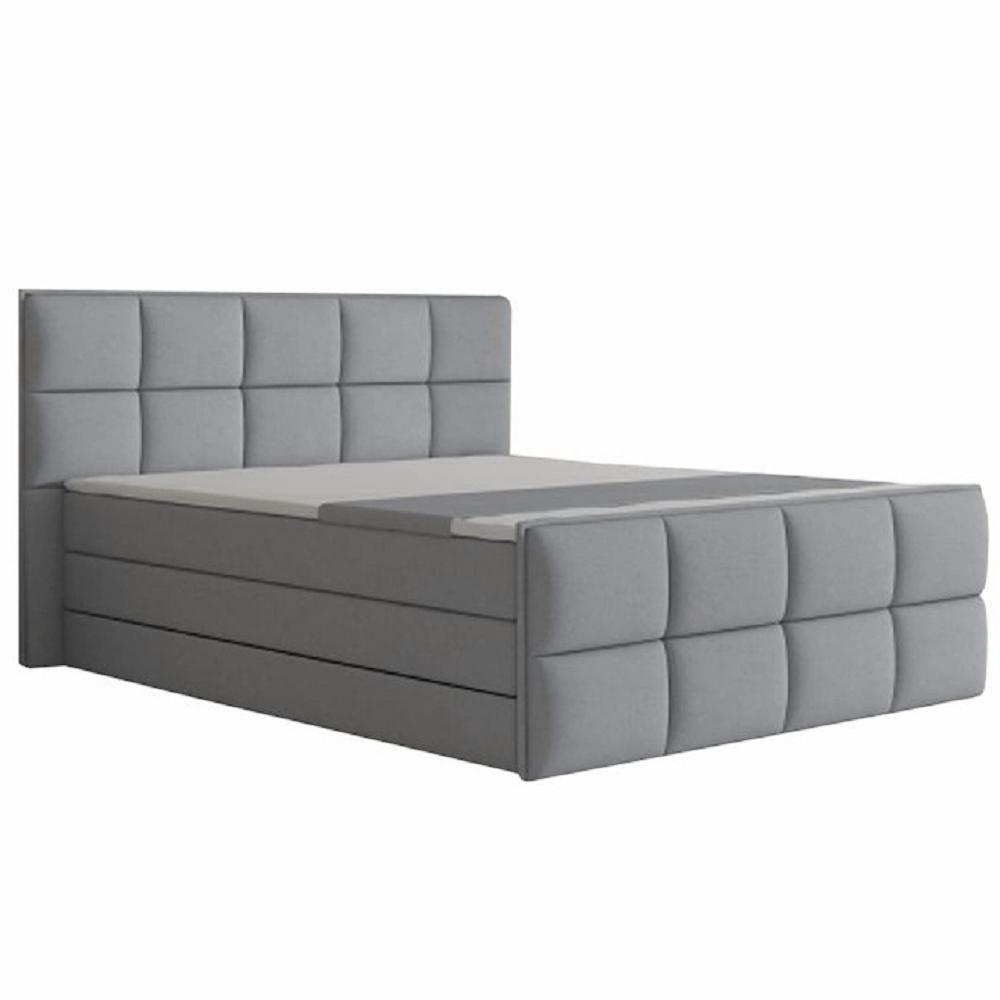 Pat confortabil 160x200 cm, material textil gri, RAVENA MEGAKOMFORT VISCO