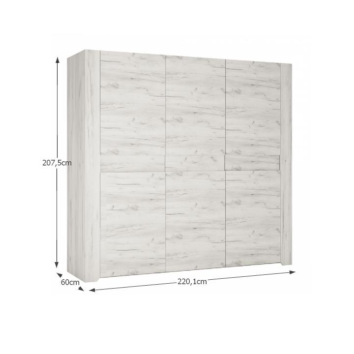 Spálňová zostava, skriňa, posteľ 160x200, 2x nočný stolík, biela craft, skriňa s rozmermi, ANGEL