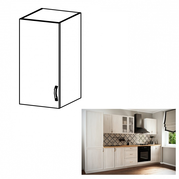 Horná skrinka G30, ľavá, biela/sosna Andersen, SICILIA