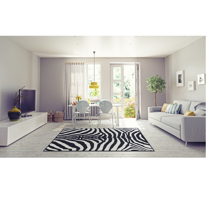ARWEN koberec 40x60 cm v prevedeni vzor zebra, 100% viskóza, interiérová fotka