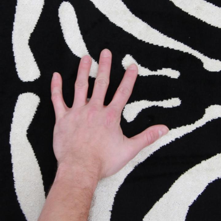 ARWEN koberec 40x60 cm v prevedeni vzor zebra, 100% viskóza, detail s rukou na výšku vlasu