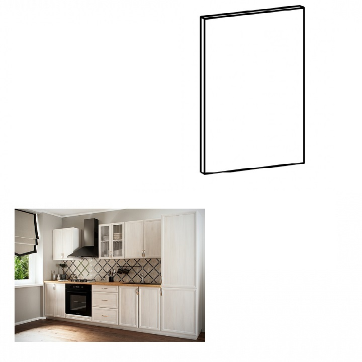 Dvierka na vstavanú umývačku riadu, 44,6x57, sosna Andersen, SICILIA, na bielom pozadí