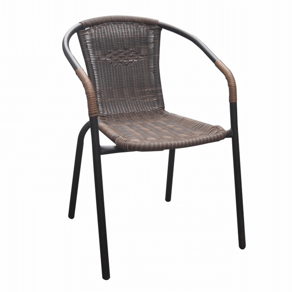 Scaun stivuibil, răchită sintetică maro/metal negru, DOREN