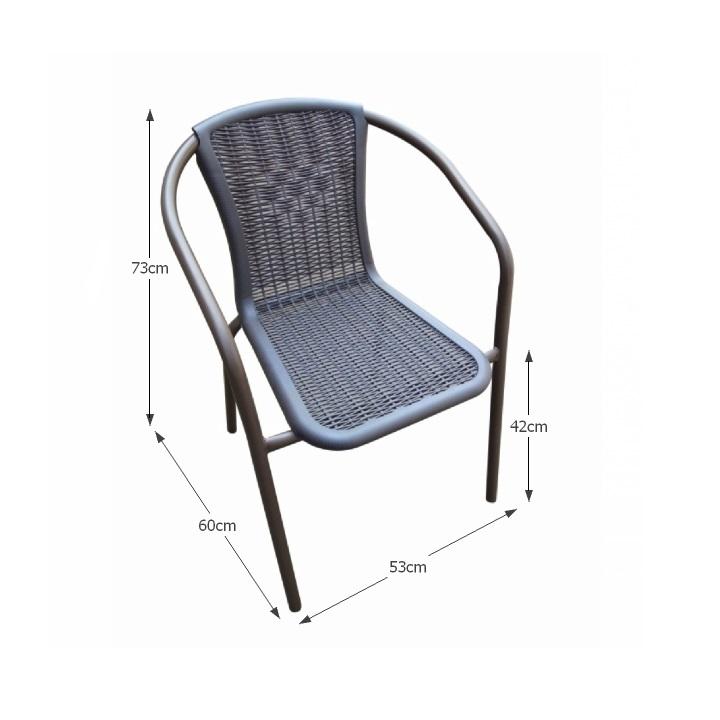 Stohovateľná stolička, tmavohnedá/čierny kov, VARDA - fotka s rozmermi