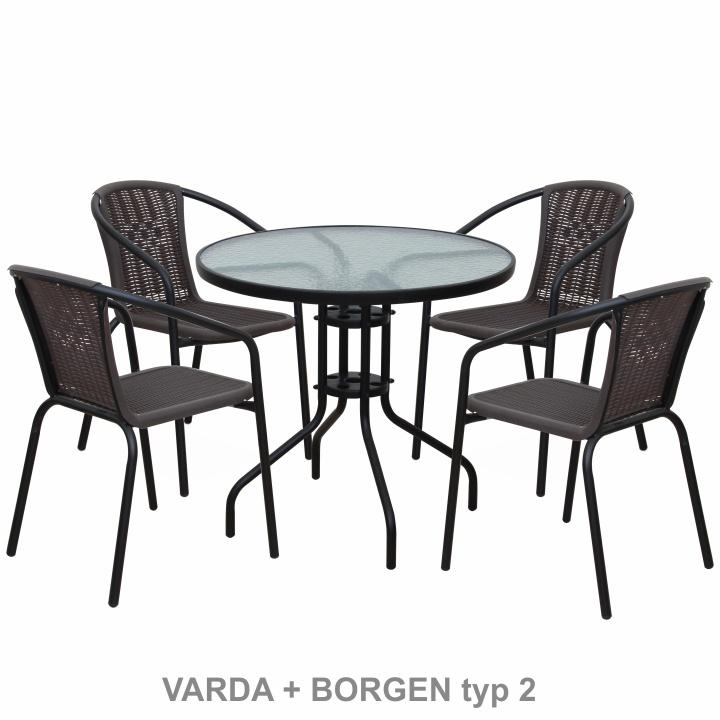 Stohovateľná stolička, tmavohnedá/čierny kov, VARDA - viac stoličiek
