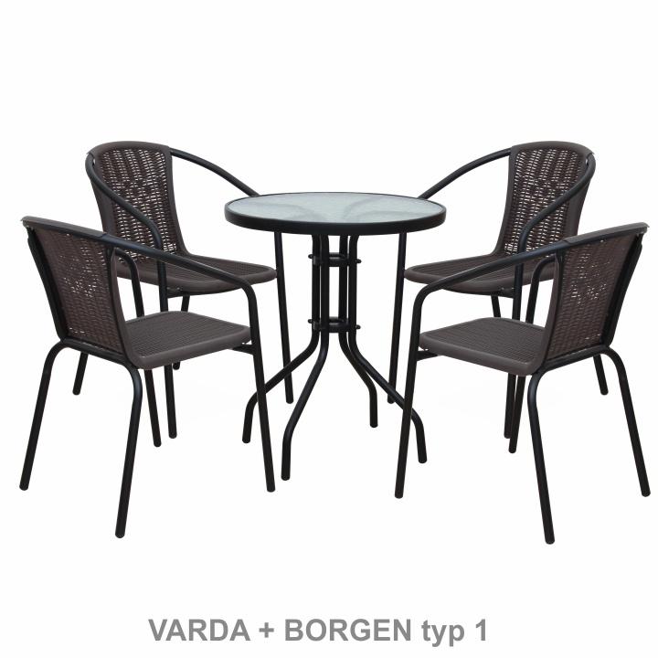 Stohovateľná stolička, tmavohnedá/čierny kov, VARDA - stoličky na bielom pozadí