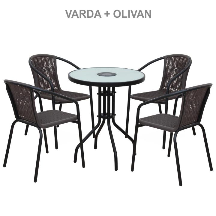 Stohovateľná stolička, tmavohnedá/čierny kov, VARDA - stoličky + stôl