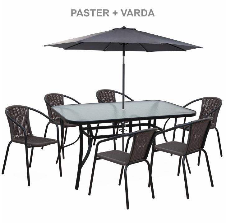 Stohovateľná stolička, tmavohnedá/čierny kov, VARDA - set so stoličkami