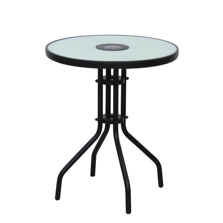 Stôl, čierna oceľ/tvrdené sklo, OLIVAN