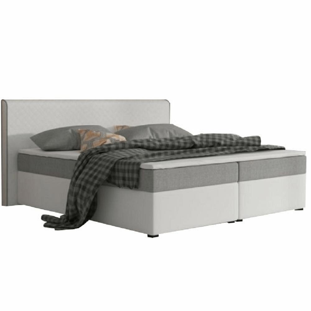 Kényelmes ágy, szürke szövet/fehér textilbőr, 160x200, NOVARA MEGAKOMFORT