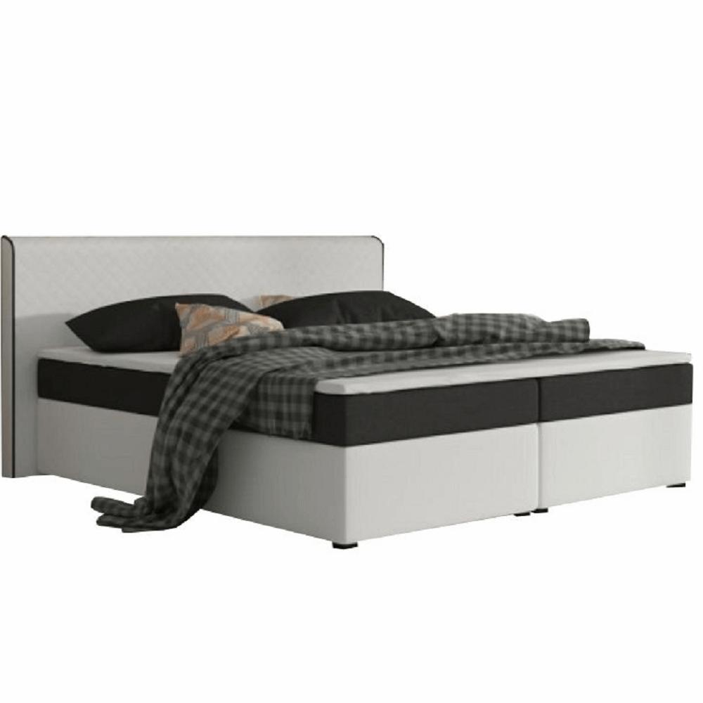 Kényelmes ágy, fekete szövet/fehér textilbőr, 160x200, NOVARA MEGAKOMFORT