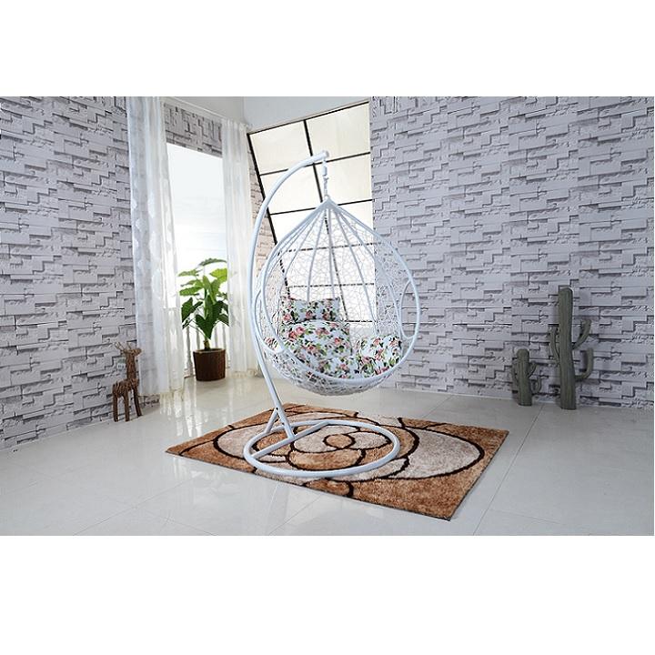Závesné kreslo, biela/vzor kvety, NOELA, interiér