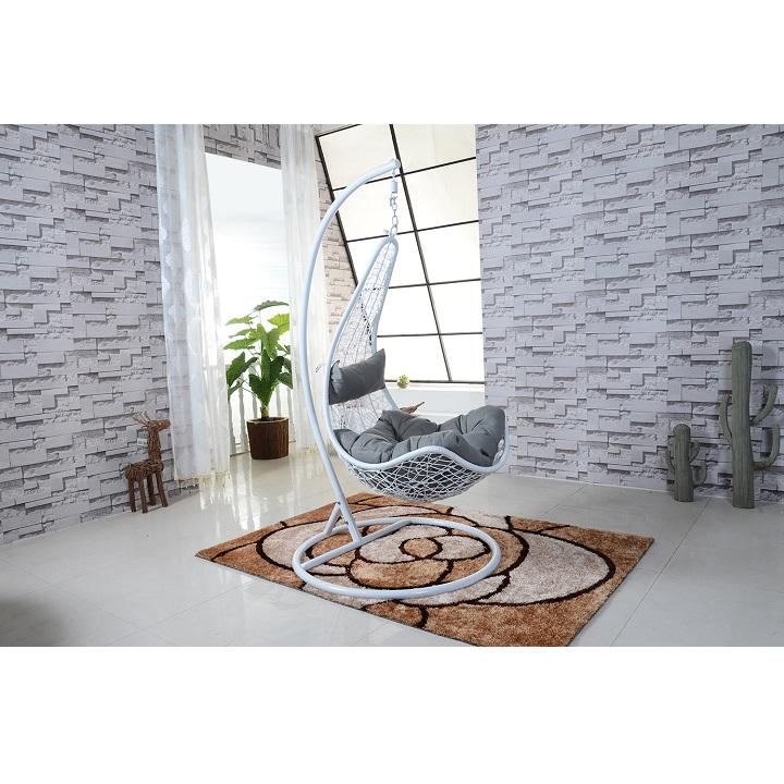 Závesné kreslo, biela/sivá, interiérová fotka, DORINA