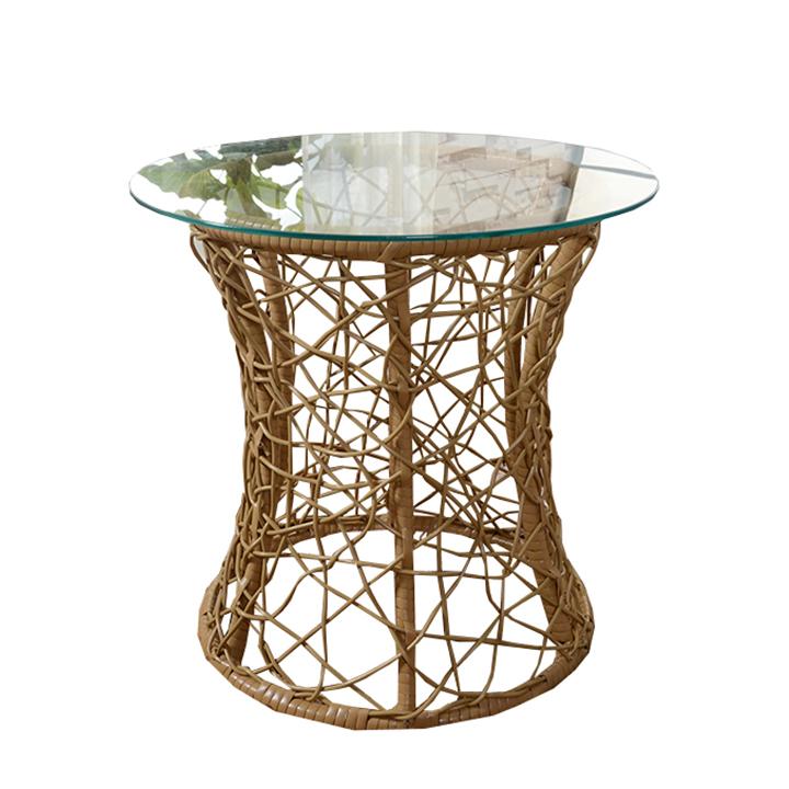 Príručný stolík, béžová, umelý ratan/ tvrdené sklo, SALMAR, na bielom pozadí