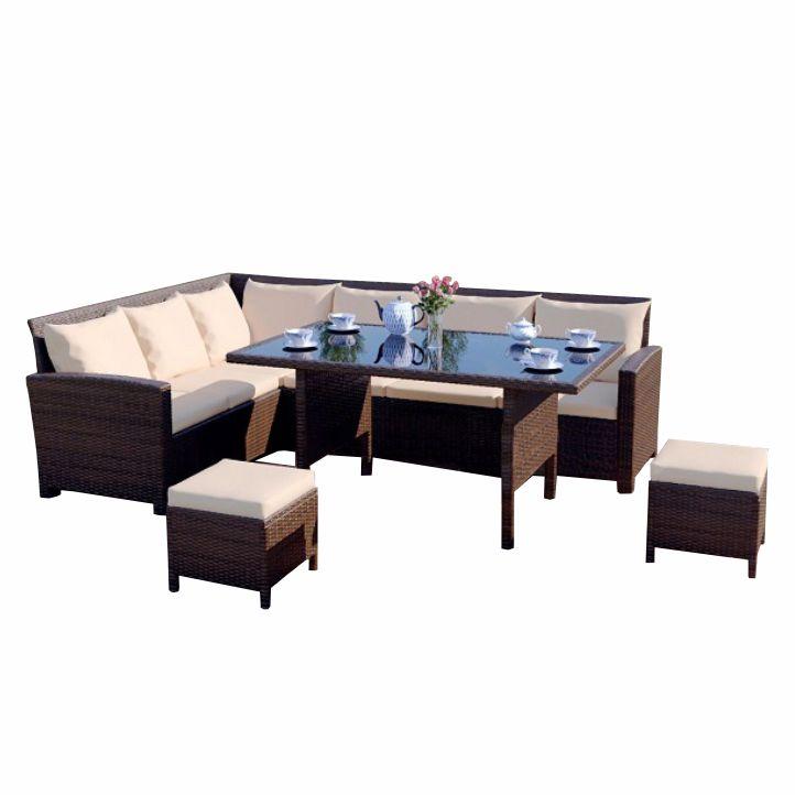 STARK záhradný set, roh s vankúšmi/konferenčný stôl, ratan,hnedá/krémová