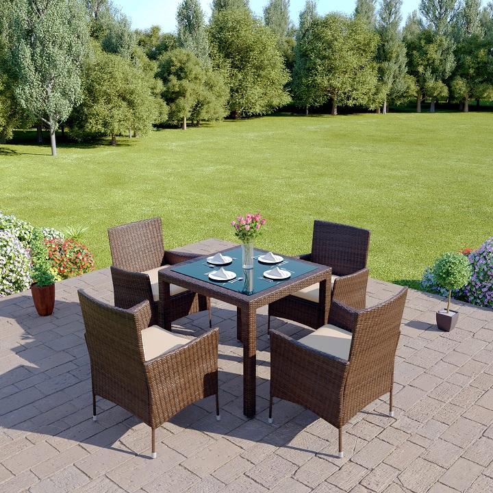 Záhradný ratanový set, hnedá/krémová, MORTON, exteriérová fotka