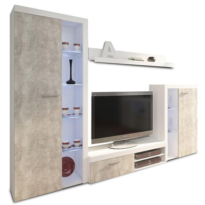 Obývacia stena, betón svetlý/biela,DTD laminovaná,  ROCHESTER, na bielom pozadí