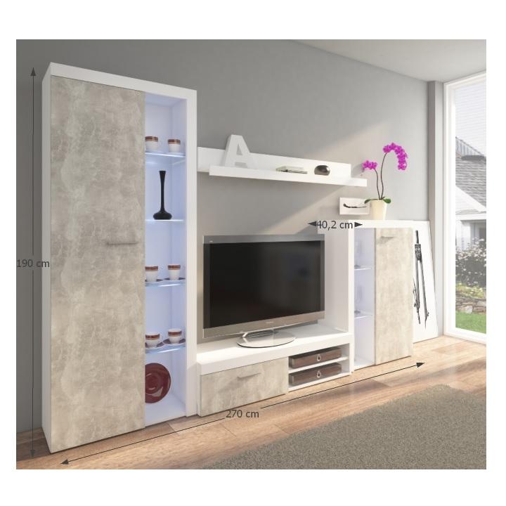 Obývacia stena, betón svetlý/biela,DTD laminovaná,  ROCHESTER, s rozmermi