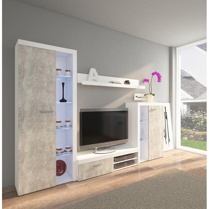 Obývacia stena, betón svetlý/biela,DTD laminovaná,  ROCHESTER