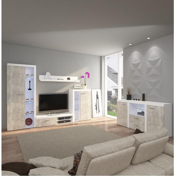 Obývacia stena, betón svetlý/biela,DTD laminovaná,  ROCHESTER, interiér
