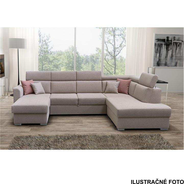 Luxusná sedacia súprava, béžová/tehlová, pravá, interiérová ilustračná fotka, MARIETA U