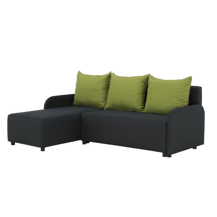 Rohová sedačka, tmavosivá/zelená, ľavá, BODRUM
