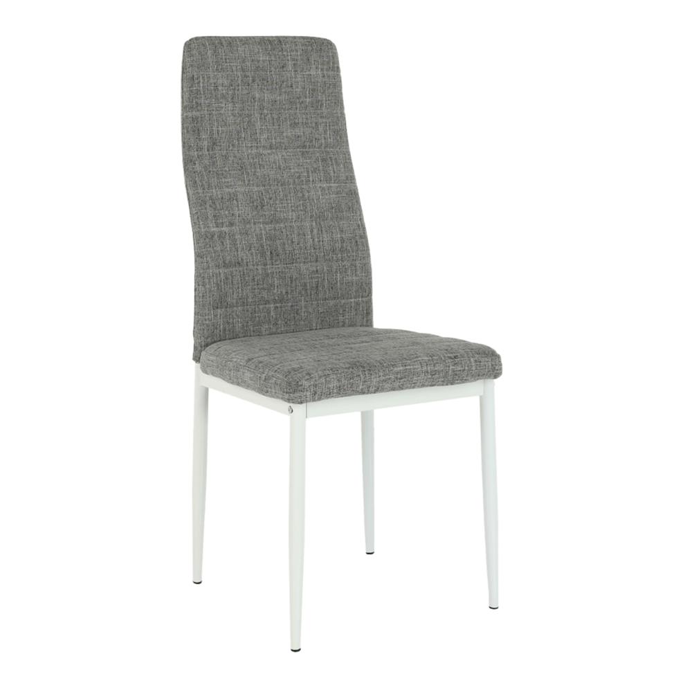 Scaun, textil gri deschis/metal alb, COLETA NOVA