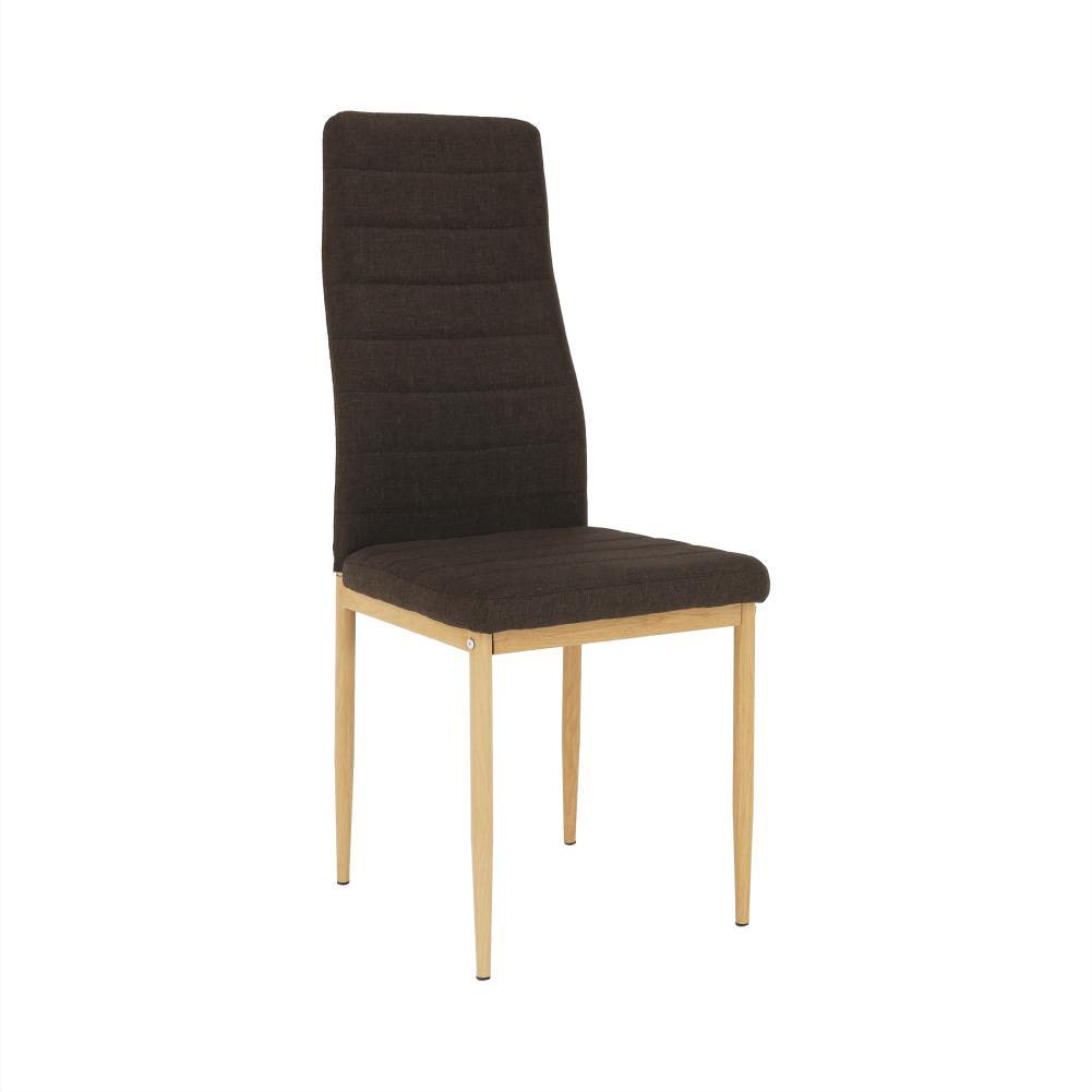 Scaun, material textil maro închis/cadru metalic fag, COLETA NOVA
