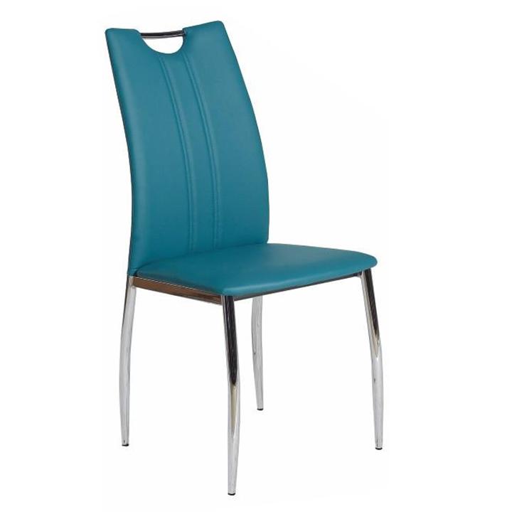 Jedálenská stolička, ekokoža petrolejová/chróm, OLIVA