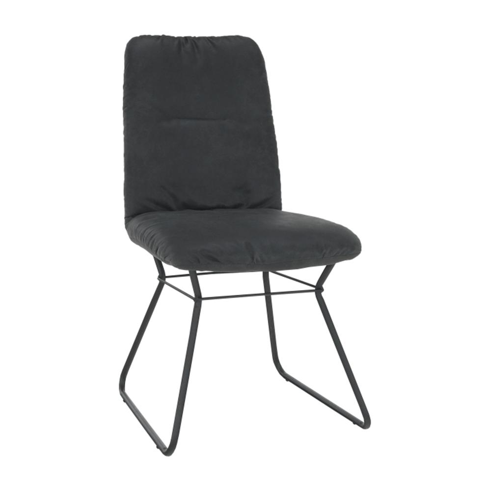 Scaun, material textil negru cu efect de piele întoarsă/metal negru, ALMIRA