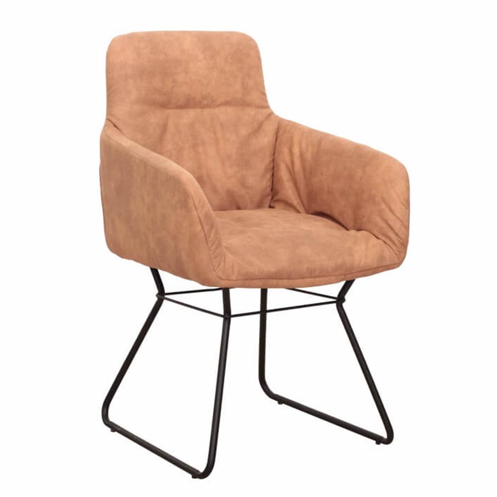 Fotel, csiszolt bőr hatású barna anyag, LANTOS