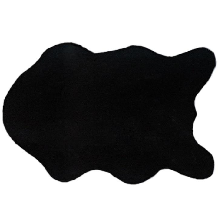 Umelá kožušina, čierna, 60x90, RABIT TYP 1, na bielom pozadí