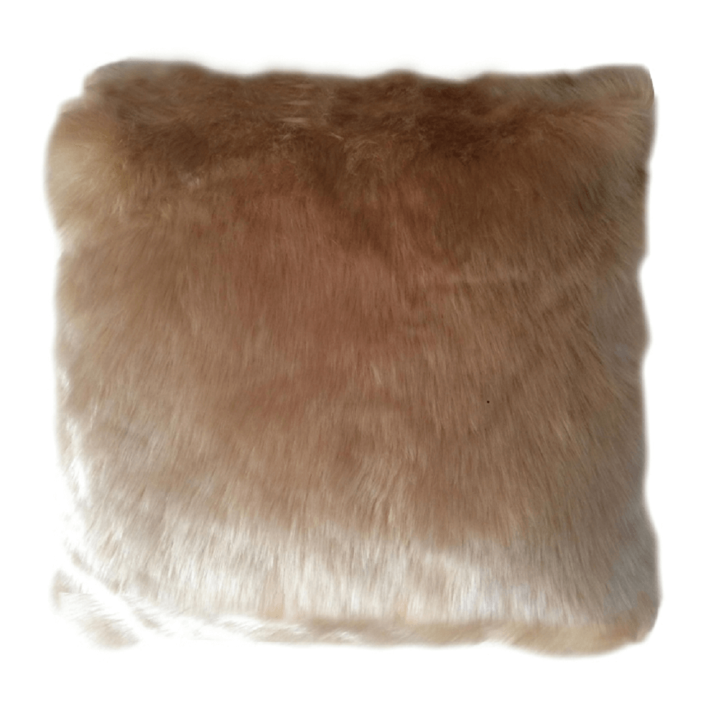 Pernă, imitaţie de piele de oaie, bej, 45x45, ROSALINE