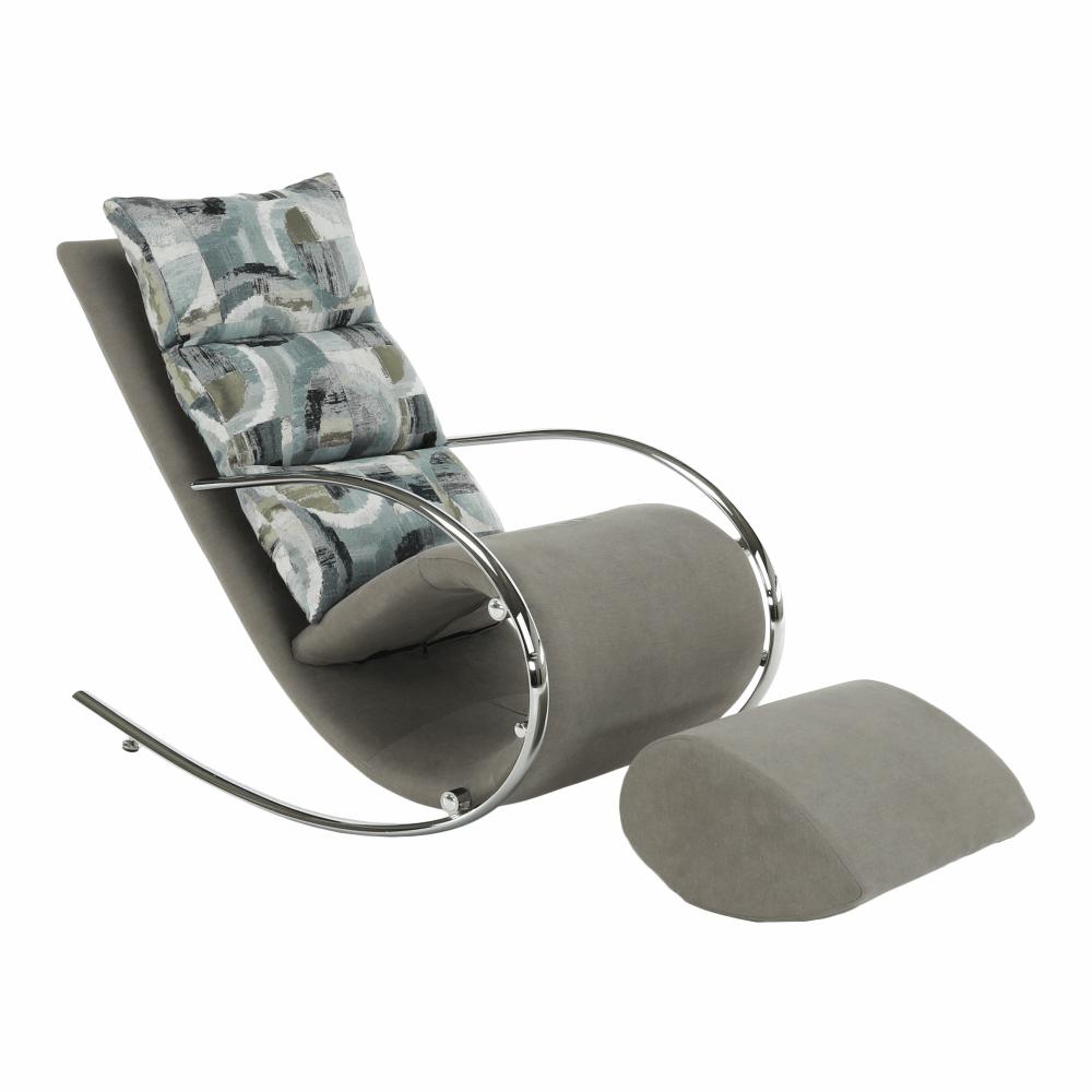Scaun balansoar, material gri/metal, ROGER