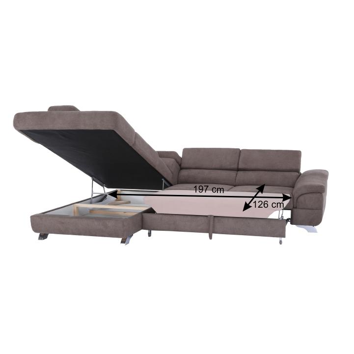 Rohová rozkladacia sedačka, hnedá, ľavá, LEGAS, plocha na spanie s rozmermi