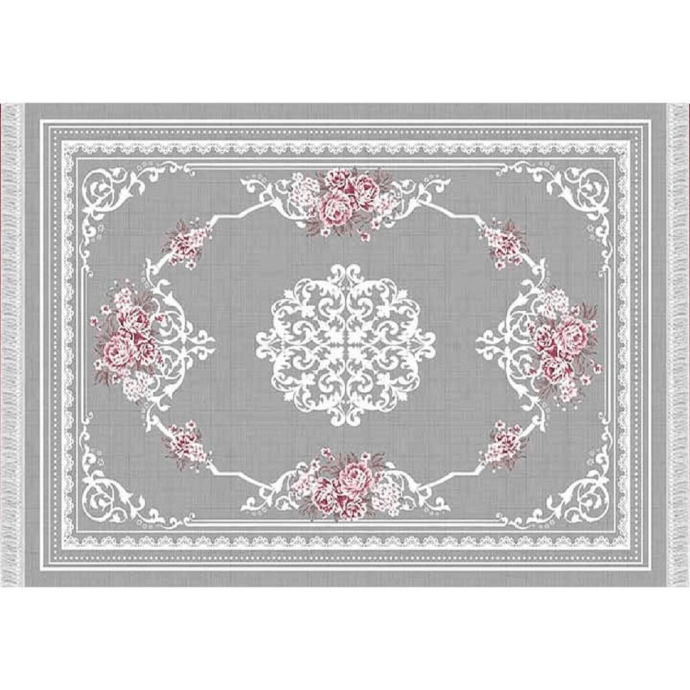 Covor 80x150 cm, gri/model cu flori, SEDEF TYP 2