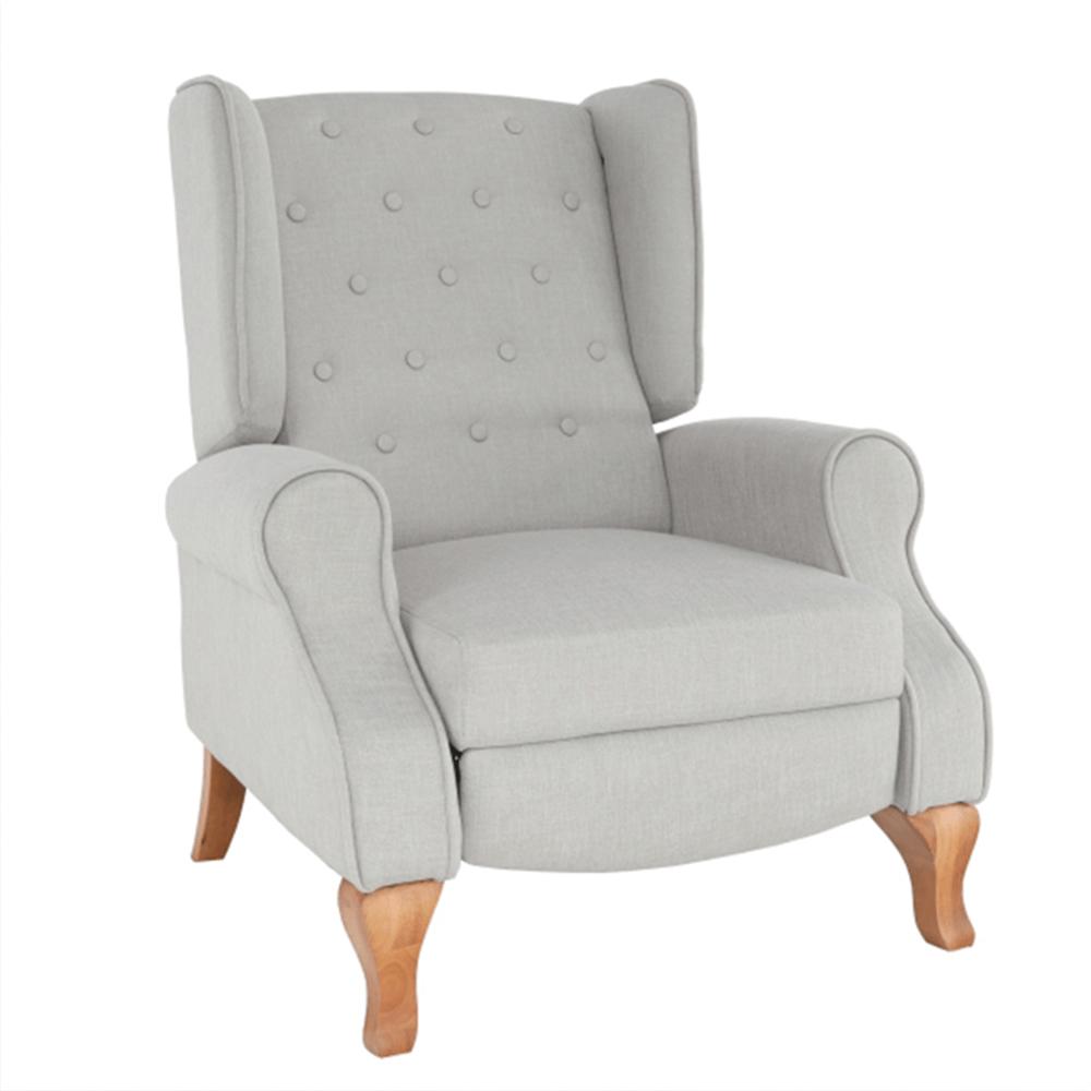 Állítható fotel zsámollyal, bézs anyag/fa, ARMIN