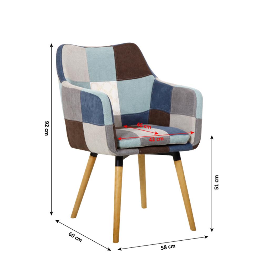 Fotoliu, albastru şi bej model mozaic/fag, LANDOR