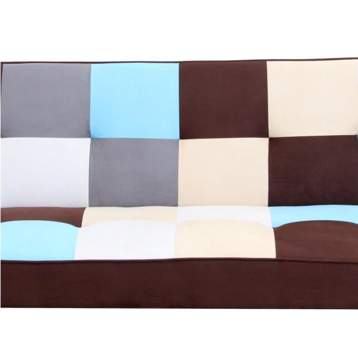 Pohovka, látka béžová/hnedá/modrá, detail na materiál, látku a farbu, ARLEKIN