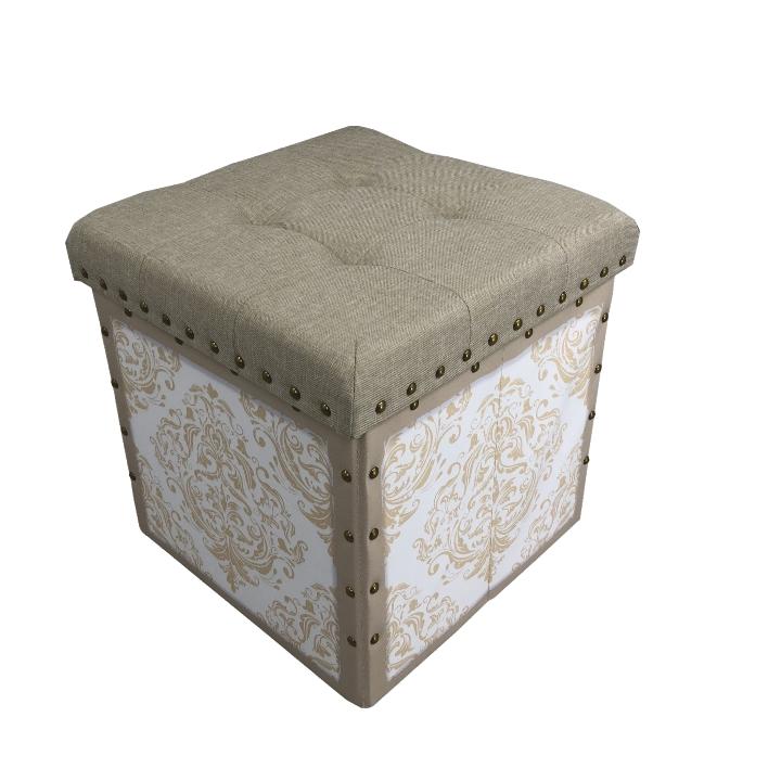 taburet s úložným priestorom, béžovobiela látka, SAFIA