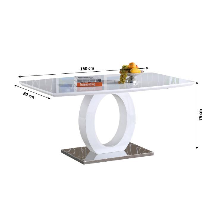 Jedálenský stôl, biela vysoký lesk/oceľ, Zarni - fotka s rozmermi