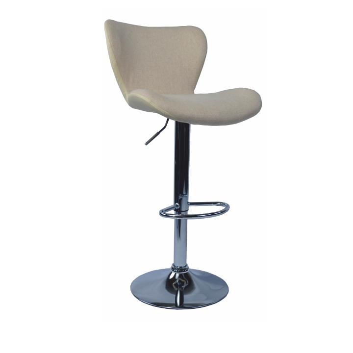 Barová stolička, hnedá látka, kremová ekokoža /chróm, TIRZA