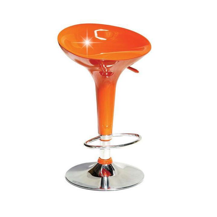 Bárszék, narancssárga műanyag /króm, INGE 2 NEW