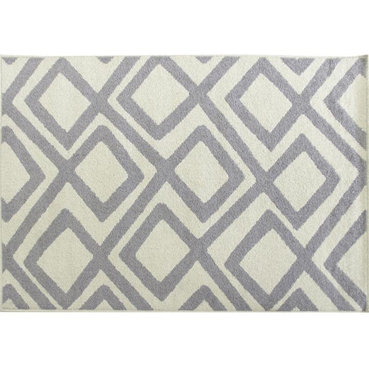 Koberec, slonovinová/sivá, 67x120, s rozmermi, GILMER TYP 2
