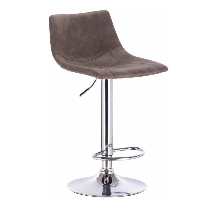 Barová stolička, sivohnedá/kov, na bielom pozadí, LENOX