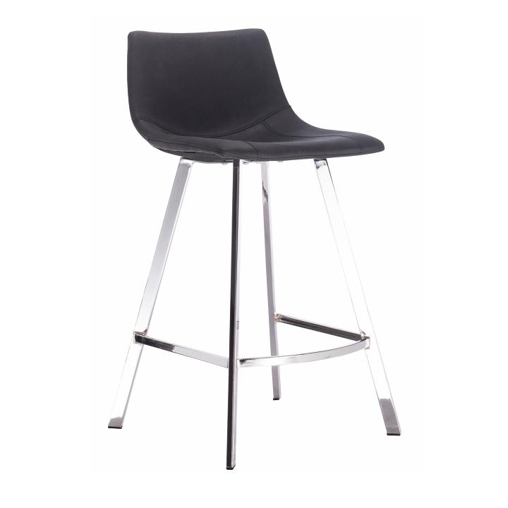 Barová stolička, čierna látka, kovová konštrukcia, DERON