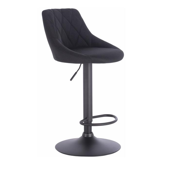 Barová stolička, čierna látka, kovová konštrukcia, TERKAN, na bielom pozadí