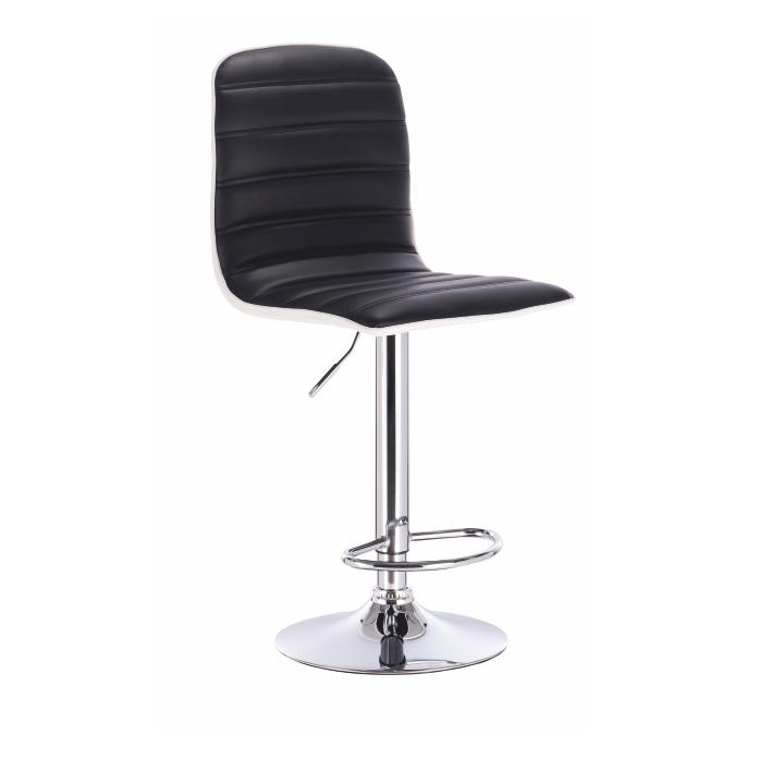 Barová stolička, čierno biela ekokoža + chróm, kovová konštrukcia, na bielom pozadí, GERIK
