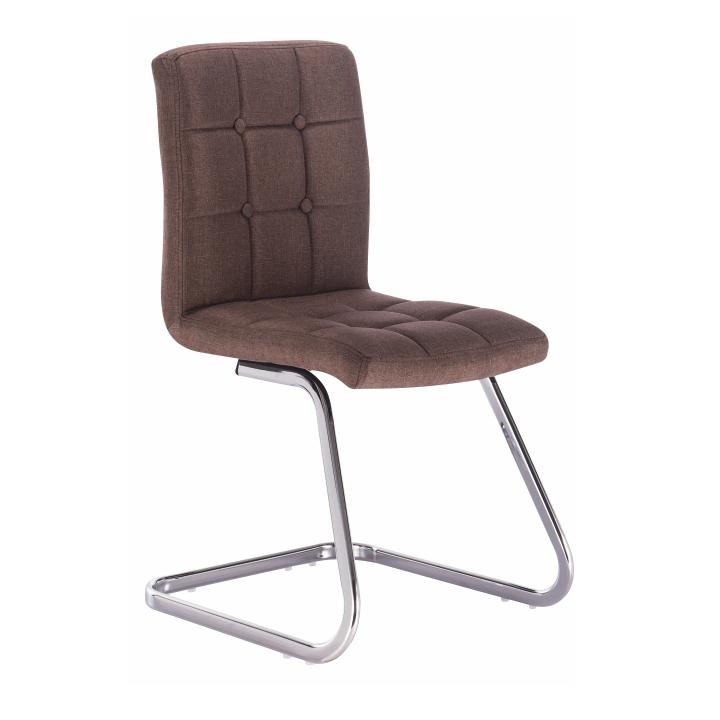 Dizajnová stolička, hnedá látka + chróm, kovová konštrukcia, na bielom pozadí, LAVINIA